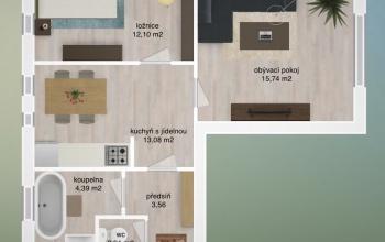 PSÁRY - DOLNÍ JIRČANY, 1 Bedroom ložnice, 1 Pokojů pokoje,1 KoupelnaBathrooms,Byty,Prodej,SÍDL. ŠTĚDŘÍK,4,1056